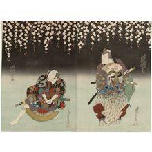 Gochôtei Sadamasu I: Actors in Imagined Roles (Mitate): Arashi Rikan as Kagekiyo (R) and Nakamura Utaemon as a Lackey (Yakko) (L) - Museum of Fine Arts