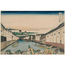 Katsushika Hokusai: Nihonbashi Bridge in Edo (Edo Nihon-bashi), from the series Thirty-six Views of Mount Fuji (Fugaku sanjûrokkei) - Museum of Fine Arts