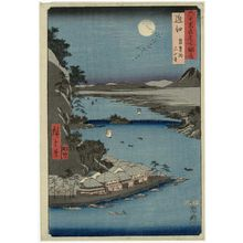 歌川広重: Ômi Province: Lake Biwa, Ishiyama Temple (Ômi, Biwako, Ishiyamadera), from the series Famous Places in the Sixty-odd Provinces [of Japan] ([Dai Nihon] Rokujûyoshû meisho zue) - ボストン美術館