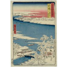 Utagawa Hiroshige: Musashi Province: Sumida River, Snowy Morning (Musashi, Sumidagawa, Yuki no ashita), from the series Famous Places in the Sixty-odd Provinces [of Japan] ([Dai Nihon] Rokujûyoshû meisho zue) - Museum of Fine Arts