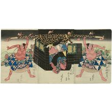 Ryûsai Shigeharu: Actors Nakamura Uatemon III as the servant Yakanpei (R), Sawamura Kunitarô II as the fox Kuzunoha (C), and Arashi Rikan II as the servant Yokanpei (L) - ボストン美術館