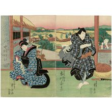 Ryûsai Shigeharu: Actors Ichikawa Danzô V as Hayano Kanpei (R) and Nakamura Matsue III as his wife Okaru (L) - Museum of Fine Arts