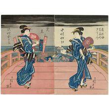 Ryûsai Shigeharu: Enjoying the Evening Cool in the Theater District at Dôtonbori: An Imaginary Scene (Dôtonbori Shibai-machi yûsuzumi, mitate), with Actors Nakamura Matsue III (R) and Sawamura Kunitarô II (L) - Museum of Fine Arts