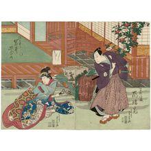 Ryûsai Shigeharu: Actors Arashi Rikaku as Hayase Iori (R) and Iwai Shijaku as Somenoi (L) - Museum of Fine Arts