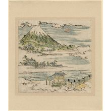 Tsukioka Settei: Mt. Fuji above temple buildings and bridge in clouds - Museum of Fine Arts