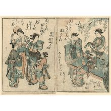 Tsukioka Settei: (L) Osaka: Yujo no fu, (Osaka, yujo style) Courtesan with servants (R) Osaka: Matchikata onna no fuzoku, (Merchant-daughter's fashion) Girl seated under wistaria. From: Onna Geibun Sansai Zue, vol. 5, illustration 11 (at left) and illustration 8 (at right - Museum of Fine Arts