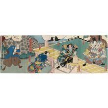Utagawa Yoshitaki: Actors in the play Ichinotani Futaba Gunki: from right, Jitsukawa Enzaburô I as Yoshitsune; Arashi Kichisaburô III as Kumagaya Naozane; Fujikawa Tomokichi III as Kumagaya's wife Sagami; Nakamura Jakuemon I as Midaroku - Museum of Fine Arts