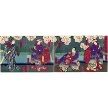 Utagawa Yoshitaki: Actors, from right: Ichikawa Udanji I as the Ghost of Hôkaibô, Kataoka Gadô III as Tonoinosuke, Onoe Taganojô II as Okumi, and Ichikawa Yaozô as Okan, in Memories of the Sumida River (Sumidagawa no Omokage) - Museum of Fine Arts