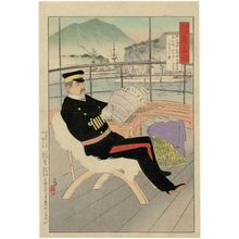 小林清親: Admiral Kabayama, from the series Mirror of Army and Navy Heroes (Rikkai gunjin kômyô kagami) - ボストン美術館