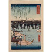 Utagawa Hiroshige: Ryôgoku Bridge in Edo (Tôto Ryôgoku), from the series Thirty-six Views of Mount Fuji (Fuji sanjûrokkei) - Museum of Fine Arts