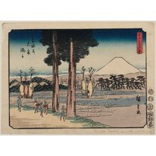 歌川広重: Nawate at Ômori on the Tôkaidô (Tôkaidô Ômori Nawate), from the series Thirty-six Views of Mount Fuji (Fuji sanjûrokkei) - ボストン美術館