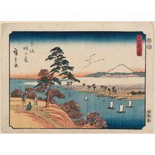 Utagawa Hiroshige: Kônodai in Shimôsa Province (Shimôsa Kônodai), from the series Thirty-six Views of Mount Fuji (Fuji sanjûrokkei) - Museum of Fine Arts