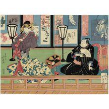 Shunbaisai Hokuei: Actors Arashi Rikan II as Oil-seller Yohei (Aburaya Yohei, R) and Nakamura Tomijûrô II as Azuma of the Wisteria House (Fujiya Azuma, L) - Museum of Fine Arts