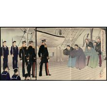 Migita Toshihide: After the Fall of Weihaiwei the Commander of the Chinese Beiyang Fleet, Admiral Ding Ruchang, Surrenders (Ikaiei kanraku Hokuyô kantai teitoku Tei Jôshô kôfuku no zu) - Museum of Fine Arts
