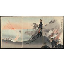 Ogata Gekko: Officers and Men Worshipping the Rising Sun While Encamped in the Mountains of Port Arthur (Ryojun no sankan ni roei shôshi nikkô o haisu zu) - Museum of Fine Arts