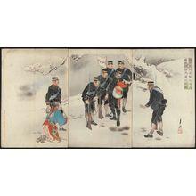 尾形月耕: Captain Higuchi, in the Midst of the Attack, Personally Holds a Lost Chinese Child (Higuchi taii shingeki no toji mizukara Seishi no ishi o hôji suru no zu) - ボストン美術館