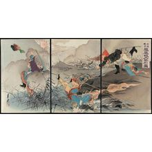Ogata Gekko: Sino-Japanese War: Picture of the Great Victory at Fenghuangcheng (Nisshin sensô, Hôôjô daishôri no zu) - Museum of Fine Arts