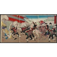 Toyohara Chikanobu: Minister Ôtori Escorts the Korean King into the Castle (Ôtori kôshi Taiinkun o yôgo nyûjô no zu) - Museum of Fine Arts