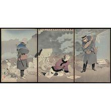 Taguchi Beisaku: The Merciful Major Saitô Coaxes a Captured Soldier to Tell Enemy Secrets (Saitô shôsa no on'ai toraeta horyo ni gunnai no jitsu o hakasu zu) - ボストン美術館
