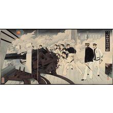 Mizuno Toshikata: Japanese Warships Fire on the Enemy near Haiyang Island (Kaiyôtô fukin teikoku gunkan happô no zu) - Museum of Fine Arts