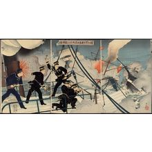 Adachi Ginko: Kabayama, the Head of the Naval Commanding Staff, onboard Seikyômaru, Attacks Enemy Ships (Kabayama gunreibuchô Seikyômaru o motte tekikan ni ataru) - Museum of Fine Arts