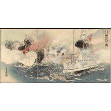 Ogata Gekko: Sino-Japanese War: The Japanese Navy Victorious Off Takushan (Nisshin sensô Daikosan oki Nikkan senshô no zu) - Museum of Fine Arts