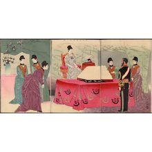 小林清親: Visit by the Empress to the General Staff Headquarters [to Present a Tray of Bandages] (Reiyô hôken no zu) - ボストン美術館