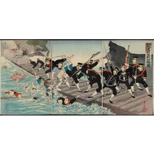 Kobayashi Toshimitsu: Sino-Japanese War: The Fierce Battle on the Pontoon Bridge at Jiuliancheng (Nisshin: Kyûrenjô funabashi gekisen no zu) - Museum of Fine Arts
