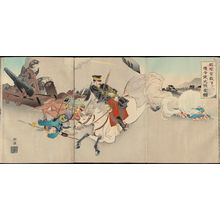 Tsukioka Kogyo: Illustration of the Accomplishment of the Important Mission of the Messengers Below Kaiin Palace - Museum of Fine Arts