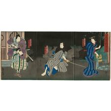 Kinoshita Hironobu I: Actors Fujikawa Tomokichi III as the wife Osai (R), Arashi Kichisaburô III as Sugiura Jûnai (C), and Jitsukawa Enzaburô I as Ikeda Shôzaburô (L), in the play Hana no Maku Hisago no Kawarake - Museum of Fine Arts
