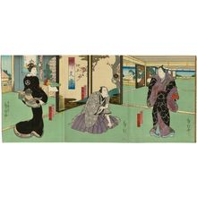 Kinoshita Hironobu I: Actors Kataoka Gadô II as Izaemon (R), Mimasu Baisha I as Kizaemon (C), and Ichikawa Dannosuke V as Kizaemon's wife Osaki (L), in the play Kuruwa Bunshô - Museum of Fine Arts