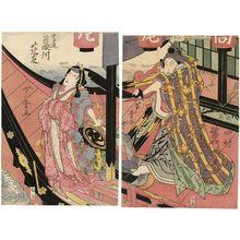 Gigado Ashiyuki: Actors Nakamura Utaemon III (Shikan) as Yorikane (R) and Fujikawa Kayû as Takao (L) - Museum of Fine Arts