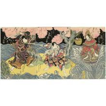 Gigado Ashiyuki: Actors Arashi Tomisaburô II as the Heavenly Woman of Itsukushima (R), Arashi Kitsusaburô II as Ôuchi Samanosuke (C), and Bandô Jûtarô I as Naruto Kobei (L) - Museum of Fine Arts