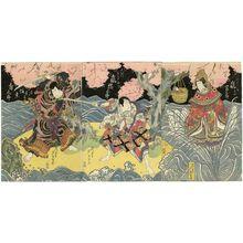 芦幸: Actors Arashi Tomisaburô II as the Heavenly Woman of Itsukushima (R), Arashi Kitsusaburô II as Ôuchi Samanosuke (C), and Bandô Jûtarô I as Naruto Kobei (L) - ボストン美術館