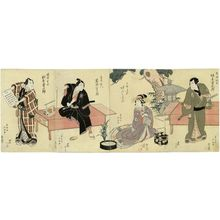 Shunkosai Hokushu: Actors, from right: Bandô Jûtarô I as Teranishi Kanshin; Arashi Koroku IV as Komurasaki; Iwai Hanshirô V as Shirai Gonpachi; Matsumoto Kôshirô V as Banzui Chôbei - Museum of Fine Arts