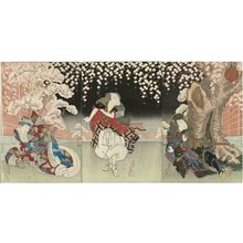 Shunkosai Hokushu: Actors Ichikawa Ebijûrô II as Ki no Haseo (R), Nakamura Utaemon III as Kujaku Saburô (C), and Fujikawa Tomokichi II as Kôbai-hime (L) - Museum of Fine Arts