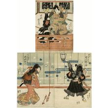 Shunkosai Hokushu: Actors Nakamura Utaemon III as Mino no Shôkurô (T), Ichikawa Ebijûrô I as Gantetsu, actually Miura Arajirô (BR), and Nakamura Karoku I as the Courtesan Hinazuru, actually Shôkurô's wife Kochô (BL) - Museum of Fine Arts