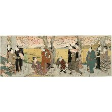 Shunkosai Hokushu: Actors Viewing Cherry Blossoms - Museum of Fine Arts