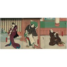Utagawa Hirosada: Actors Nakamura Utaemon IV as Kurofune Chûemon (R), Jitsukawa Enzaburô I as Hanjimon Kihei (C), and Nakayama Nanshi II as Chûemon's wife Omasa (L) - Museum of Fine Arts