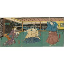 Utagawa Hirosada: Actors Mimasu Daigorô IV as Sangobei (R), Nakamura Utaemon IV as Gengobei (C), and Nakayama Nanshi II as Kikuno (L) - Museum of Fine Arts