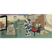 Utagawa Hirosada: Actors Sawamura Kitô I as the Geisha Kikuno (R), Ichikawa Ebizô V as Sasano Sangobei (C), and Mimasu Daigorô IV as Katsyma Gengobei (L) - Museum of Fine Arts