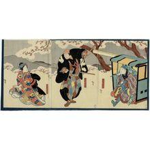 Utagawa Hirosada: Actors Onoe Tamizô II as Azuma no Yoshirô (R), Arashi Rikan III as Naniwa no Jirôsaku (C), and Arashi Rikaku II as the kamuro Tayori (L) - Museum of Fine Arts