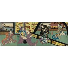 Utagawa Hirosada: Actors, from right: Mimasu Daigorô IV as Kajiwara's mother Enju, Nakamura Utaemon IV as Kajiwara Heiji, Jitsukawa Enzaburô I as Kajiwara Genta, and Nakayama Nanshi II as the lady-in-waiting (koshimoto) Chidori - Museum of Fine Arts