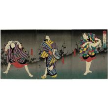 Utagawa Hirosada: Actors Nakamura Utaemon IV as Nuregami Chôgorô (R), ? (C), and Jitsukawa Enzaburô I as Hanaregoma Chôkichi (L), in Act 3 of Chôchô no Monbi - Museum of Fine Arts