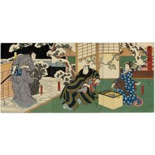 Utagawa Hirosada: Actors Nakayama Nanshi II as Otsuyu (R), Mimasu Daigorô IV as Konishi Yajûrô (C), and Nakamura Utaemon IV as Fukami Katsugorô (L), in Act 4 of the play Kiyome no Funauta - Museum of Fine Arts