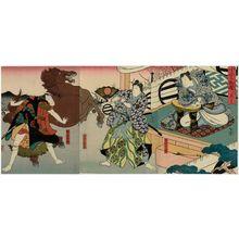 Utagawa Hirosada: Actors Arashi Rikan III as Ashikaga Yoshimitsu (R), Kataoka Gadô II as Oguri Hangan (C), and Arashi Rikaku II as the servant Michisuke (L), in Act 1 of Oguri Monogatari - Museum of Fine Arts
