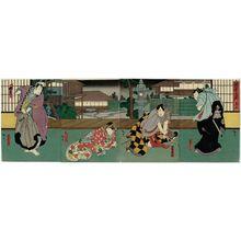 歌川広貞: Actors, from right: Jitsukawa Enzaburô I as Nagoya Sanza, Nakamura Utaemon IV as Fuwa Banzaemon, Nakayama Nanshi II as Katsuragi, and Mimasu Daigorô IV as Sasaki Kurando, in Act 9 of Inazuma Sôshi - ボストン美術館