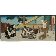 Utagawa Hirosada: Actors Ichikawa Danzô VI as the mother Mane (R), Ichikawa Ebizô V as Soga Gorô (C), and Kataoka Gadô II as Soga Jûrô (L), in Act 7 of Soga Monogatari - Museum of Fine Arts