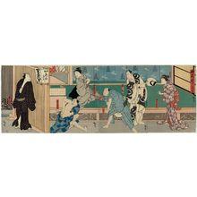 Utagawa Hirosada: Actors, from right: Nakayama Nanshi II (R); Ichikawa Ichizô I and Ichikawa Shiyû (CR); Yamashita Kinsaku IV and Nakamura Tomosa II (CL); and Nakamura Utaemon IV as Danshichi Mohei (L), in Act 2 of Shigure no Karakasa - Museum of Fine Arts