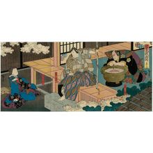 Utagawa Hirosada: Actors Ichikawa Ebizô V as Iwanaga (R), Kataoka Gadô II as Shigetada (C), and Ichikawa Danzô VI as Akoya (L), in Act 5 of Soga Monogatari - Museum of Fine Arts